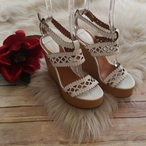 Chloe Laser Cut White and Tan Leather Wedge - 37.5